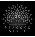 Thin line peacock logo vector image