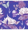 Vintage pond water flowers seamless pattern vector image