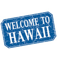 welcome to Hawaii blue square grunge stamp vector image