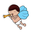 love cupid with trumpet music romance vector image