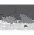 Modern Warship Sinking vector image