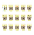 set of coffee cup emotions vector image