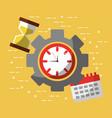 time work business calendar hour glass vector image