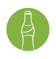 white silhouette bottle soda with green circle vector image