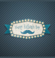 Happy fathers day light billboard with ribbon vector image