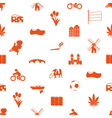 Netherlands country theme icons set seamless vector image