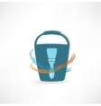 bucket with brush icon vector image