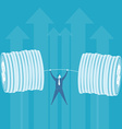 Business lifting money weight vector image