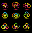 set of nine abstract bright icons vector image