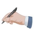 puts his signature pen vector image vector image