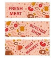 Fresh meat and sausages banner set flat style vector image