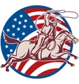 cowboy riding horse with lasso and american flag vector image