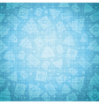 Blue christmas background with bell star snow tree vector image