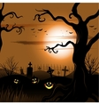 Creepy tree Halloween background with full moon vector image