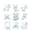 Dog clean up poop icons vector image
