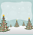 winter landscape with fir trees and falling snow vector image