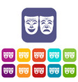 happy and sad mask icons set vector image