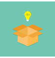 Light bulb and opened cardboard package box vector image