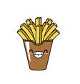 cute kawaii french fries smile and happy vector image