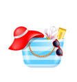 female bag with beach accessories set of summer vector image