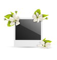 Photo frame with white cherry flowers isolated on vector image