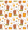 apiary honey bee houses seamless pattern vector image