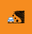 flat icon design collection car and rock vector image