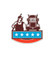 Pressure Washer Worker Truck USA Flag Retro vector image vector image