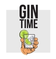 Hand holding glass of gin vodka water with ice vector image