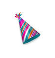 realistic striped birthday christmas party hat vector image