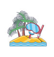 snorkeling and swimming equipment diving mask and vector image