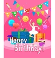 Happy birthday card template for girl vector image