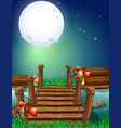 night scene with fullmoon over the bridge vector image vector image