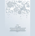White Merry Christmas and Happy New Year greeting vector image