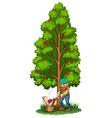 A man chopping near the fruit bearing tree vector image vector image