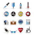 realistic medical themed icons and warning-signs vector image