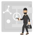 Robber with gun near safe vector image