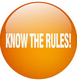 know the rules orange round gel isolated push vector image