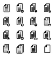 black documents icon set vector image vector image