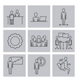 business people teamwork icon set in thin line vector image