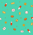 colorful seamless pattern with pills and capsules vector image
