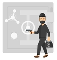 Robber with gun near safe vector image
