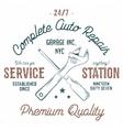 Service station vintage label tee design graphics vector image
