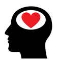Silhouette of head with heart symbol vector image
