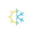 sun and snowflake icon vector image