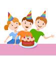 celebrating the birthday cute cartoon boy vector image vector image