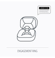 Engagement ring icon Jewellery box sign vector image