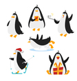 flat style set of christmas penguin Isolated on vector image