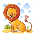 Lion sitting on a sandy meadow vector image