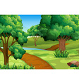 Scene with trees along the trail vector image